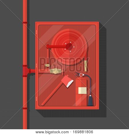 firefighter tool in fire hose cabinet with long red pipe on dark background.