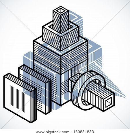 Engineering Abstract Shape, 3D Vector Polygonal Figure.