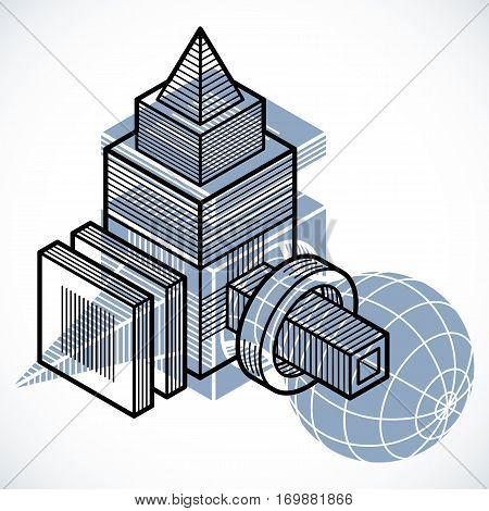 Vector Abstract 3D Geometric Shape, Polygonal Figure.