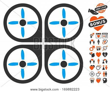 Copter icon with bonus amour clip art. Vector illustration style is flat iconic elements for web design app user interfaces.