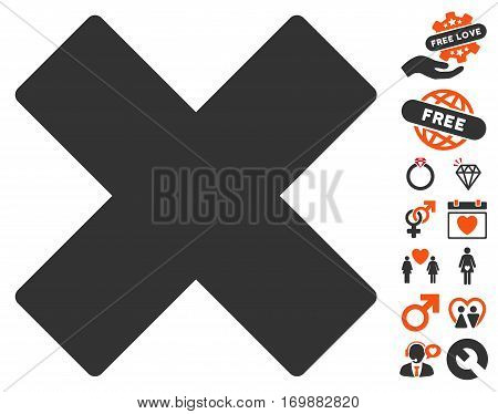 Delete X-Cross pictograph with bonus love pictograms. Vector illustration style is flat iconic elements for web design app user interfaces.