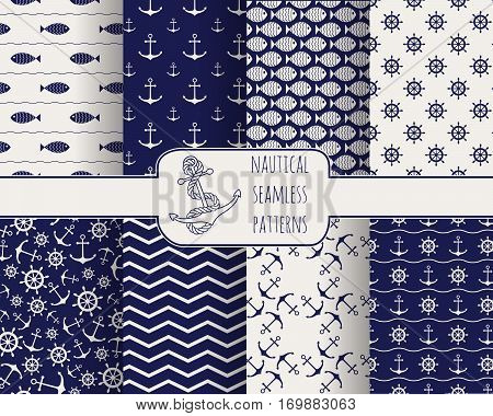 Set of seamless nautical patterns with anchors, ship wheels, fish and waves. Vector illustration. Design elements for printables, baby shower invitation, birthday card, scrapbooking, fabric print.