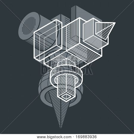 Abstract Vector Geometric Form, 3D Creative Shape.