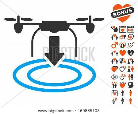 Drone Landing icon with bonus dating images. Vector illustration style is flat iconic elements for web design app user interfaces.