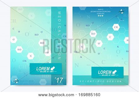 Modern vector template for brochure, Leaflet flyer, advert, cover, catalog, magazine or annual report. Business, science, medical design. Scientific hexagonal pattern, structure molecule. Card surface