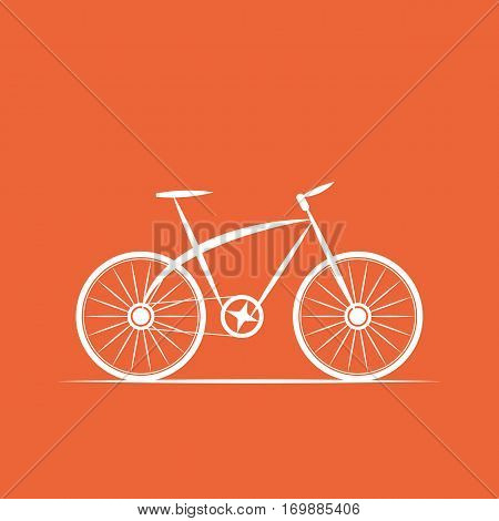 bicycle shop logo in orange background - vector illustration