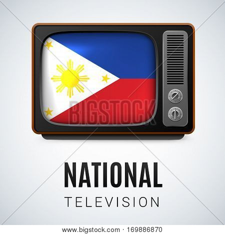 Vintage TV and Flag of Philippines as Symbol National Television. Tele Receiver with Filipino flag