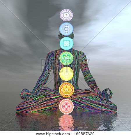 Man meditating with seven colorful chakras upon ocean in cloudy background - 3D render