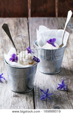 Ice Cream With Sugared Violets
