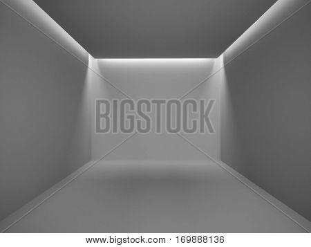 Empty dark room illuminated with hidden lights 3D rendering background.