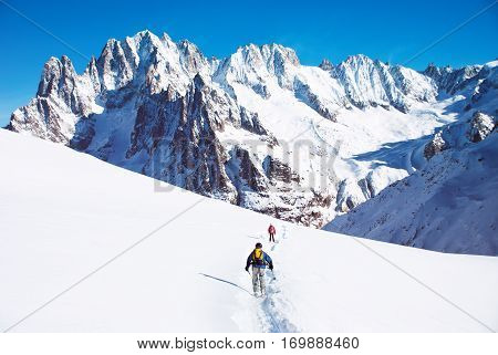 Skier in high mountains. Winter sport concept