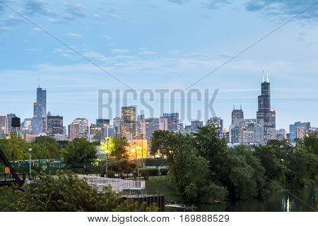 Park And Skyscrapers In Chicago, Usa
