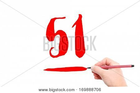 The number 51 written by a hand on a white background