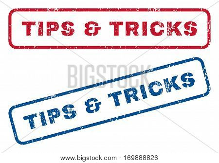 Tips and Tricks text rubber seal stamp watermarks. Vector style is blue and red ink caption inside rounded rectangular banner. Grunge design and dirty texture. Blue and red stickers.