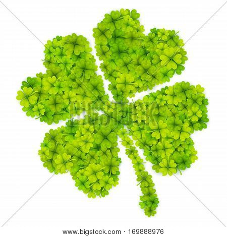 Green vector four-leaf clover shape filled with little clovers isolated on white background