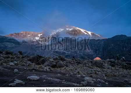 Morning Sun Illuminates Kibo, Mount Kilimanjaro, Tanzania