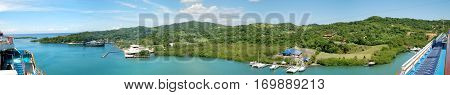 180 degree panorama view from the cruise liner of Roatan island (Honduras).