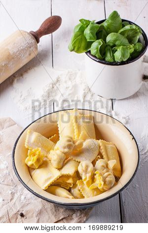 Pasta Ravioli With Flour And Basil