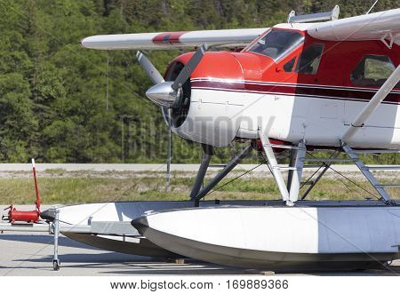 The close view of the small airplane in Skagway town airport (Alaska).