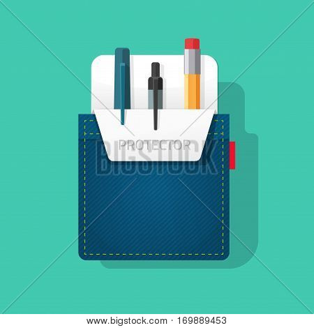 Pocket protector vector illustration, flat style jeans shirt pocket with pen and pencils, tools