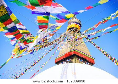 Stupa in Swayambhunath Monkey temple in Kathmandu Nepal.