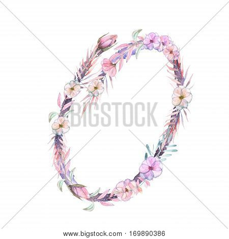 Number ''0'' of watercolor pink and purple flowers, isolated hand drawn on a white background, wedding design, festive and wedding decor and cards
