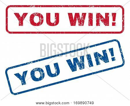 You Win exclamation text rubber seal stamp watermarks. Vector style is blue and red ink tag inside rounded rectangular banner. Grunge design and dirty texture. Blue and red stickers.