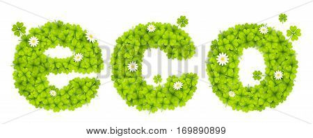 Vector green eco sign filled with four-leaf clovers and chamomile flowers