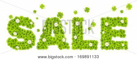 Vector floral sign SALE made from green clover leaves with chamomile flowers