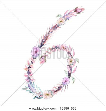 Number ''6'' of watercolor pink and purple flowers, isolated hand drawn on a white background, wedding design, festive and wedding decor and cards