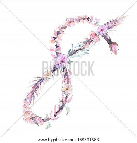 Number ''8'' of watercolor pink and purple flowers, isolated hand drawn on a white background, wedding design, festive and wedding decor and cards