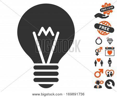 Hint Bulb icon with bonus romantic design elements. Vector illustration style is flat iconic symbols for web design app user interfaces.