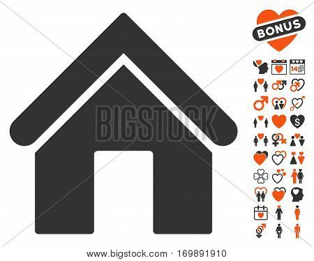 Home pictograph with bonus love pictograms. Vector illustration style is flat iconic elements for web design app user interfaces.