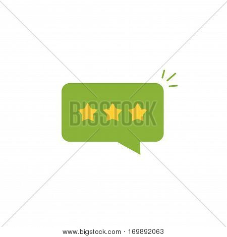 Good review rating icon vector idea, flat style review stars with positive rate in green chat bubble speech, concept of testimonial message, notification alert, feedback evaluation, quality assessment