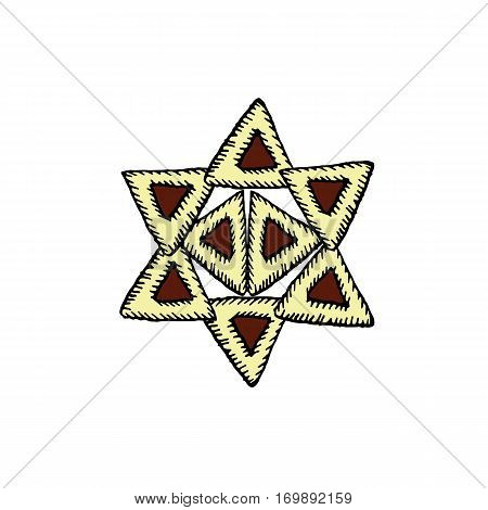 Hamantaschen. Cakes with poppy gomentashn on Purim. Lined in the form of a Star of David. Vector illustration