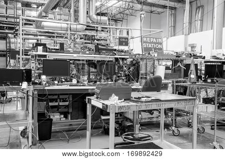 Interior of electronics industry