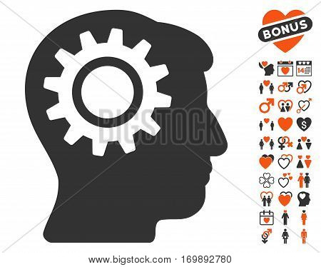 Intellect Gear icon with bonus love pictograms. Vector illustration style is flat iconic elements for web design app user interfaces.