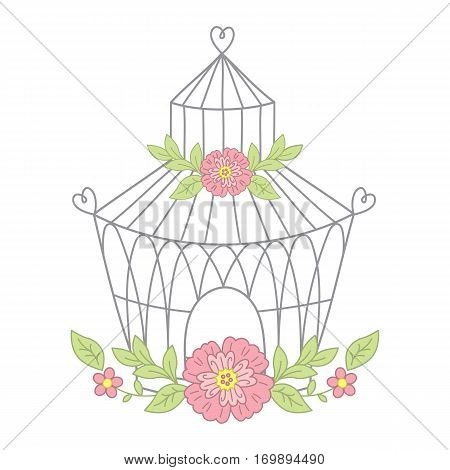 Vector bird cage with flowers in pastel  color