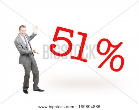 A businessman proudly presenting 51%