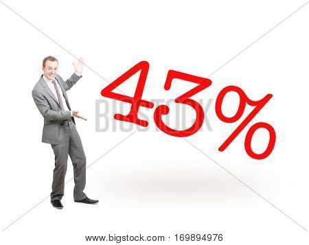 A businessman proudly presenting 43%
