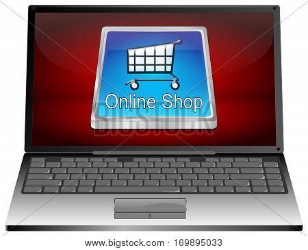 Laptop Computer with online Shop Button - 3D illustration