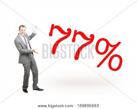 A businessman proudly presenting 77%