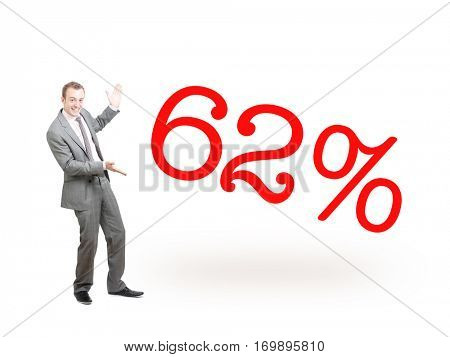 A businessman proudly presenting 62%