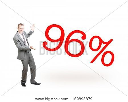 A businessman proudly presenting 96%