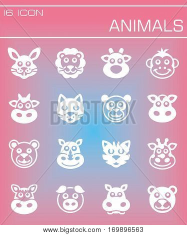 Vector Animals icon set on rose background