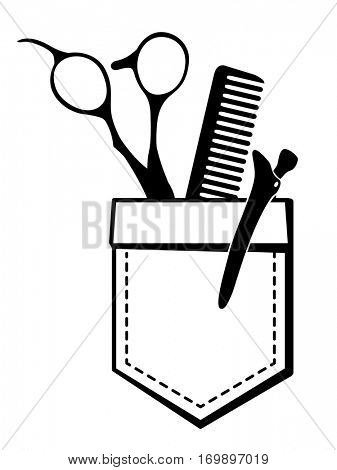 Logo for hair salon with scissors and comb in a pocket. Vector Illustration.