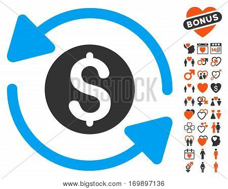 Money Turnover icon with bonus amour design elements. Vector illustration style is flat iconic symbols for web design app user interfaces.