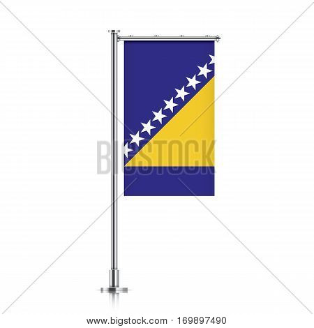 Bosnia vector banner flag hanging on a silver metallic pole. Vertical Bosnia flag template isolated on a white background.