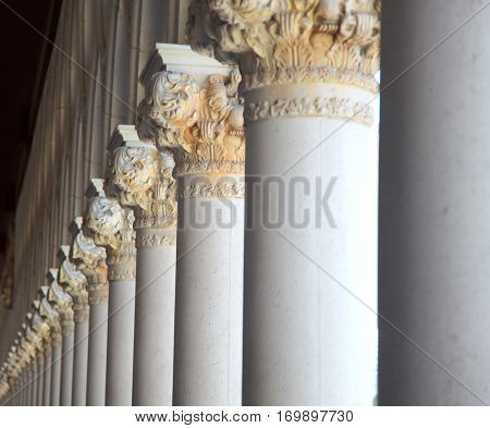 Italian architecture of tall pillars in a row