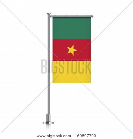 Cameroon vector banner flag hanging on a silver metallic pole. Vertical Cameroon flag template isolated on a white background.